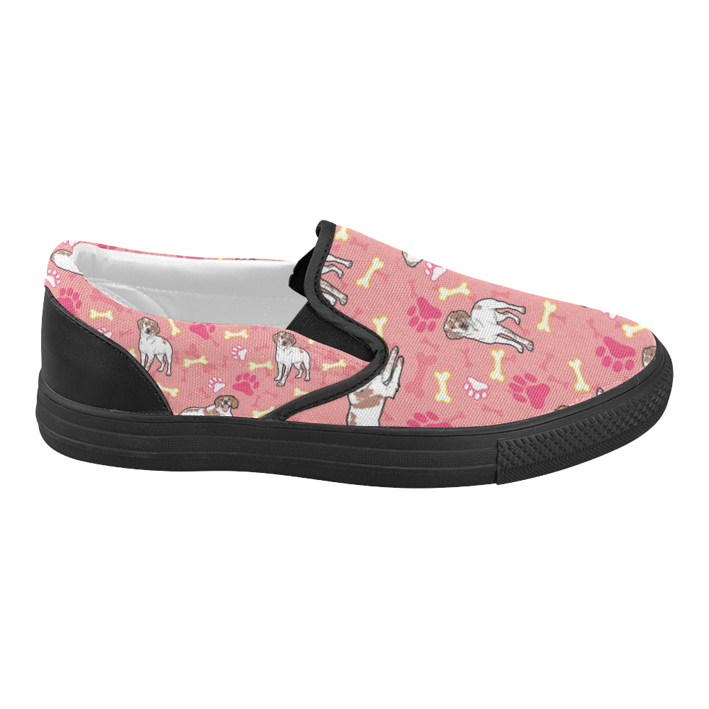 Brittany Spaniel Pattern Black Women's Slip-on Canvas Shoes (Model 019) - TeeAmazing