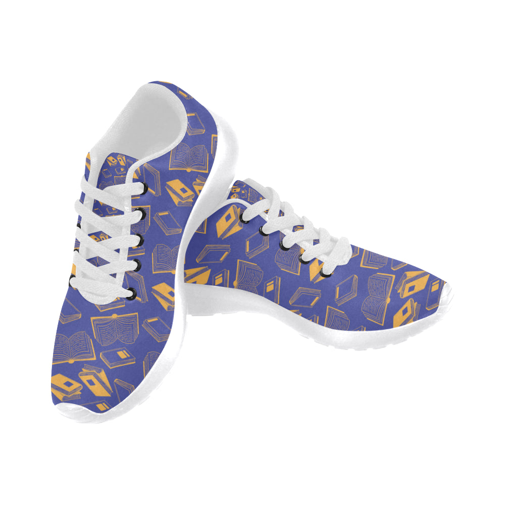 Book Pattern White Sneakers Size 13-15 for Men - TeeAmazing