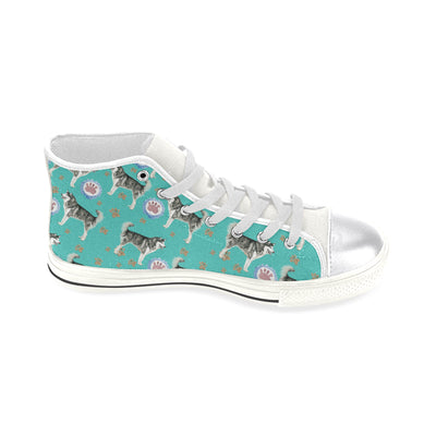 Alaskan Malamute Water Colour Pattern No.1 White Women's Classic High Top Canvas Shoes - TeeAmazing