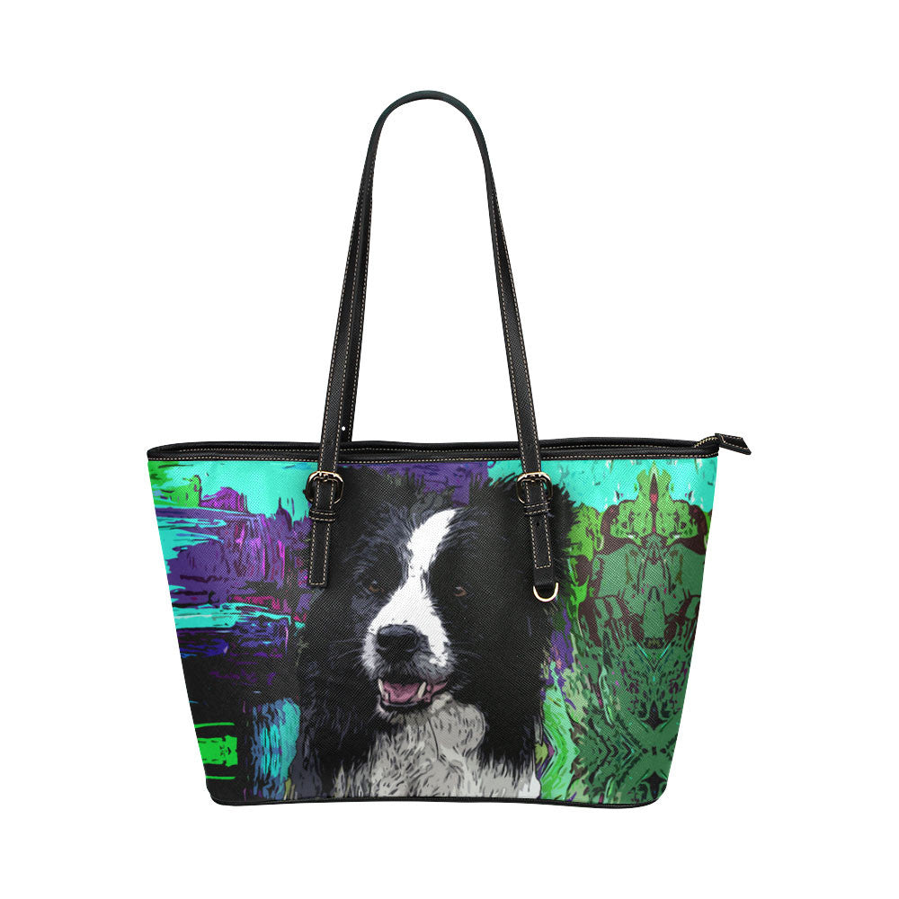 Border Collie Leather Tote Bags - Border Collie Bags - TeeAmazing