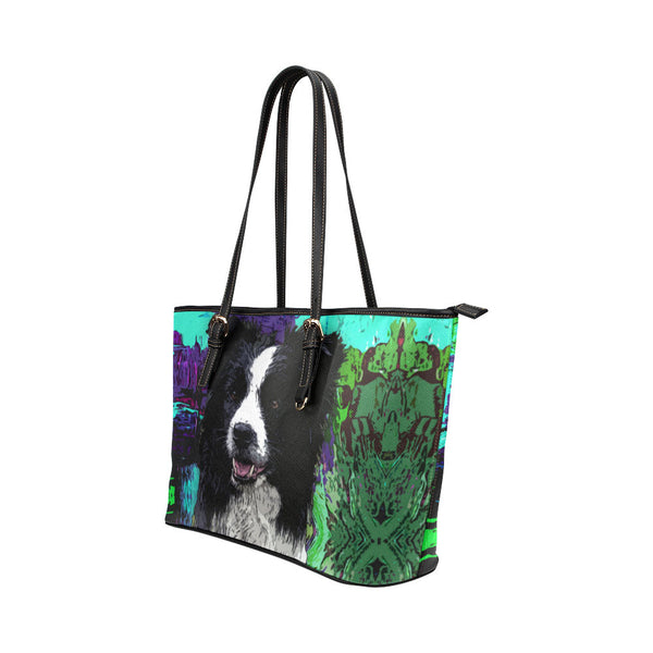 Border Collie Leather Tote Bags - Border Collie Bags - TeeAmazing - 2