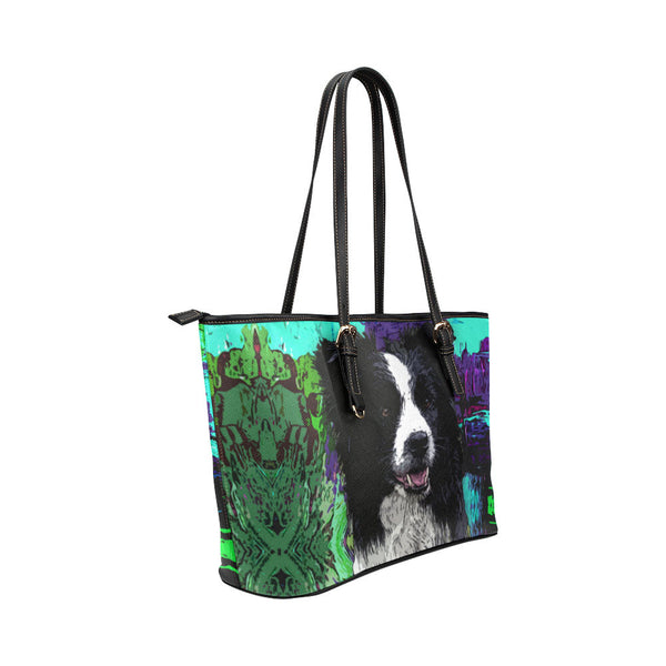 Border Collie Leather Tote Bags - Border Collie Bags - TeeAmazing - 4