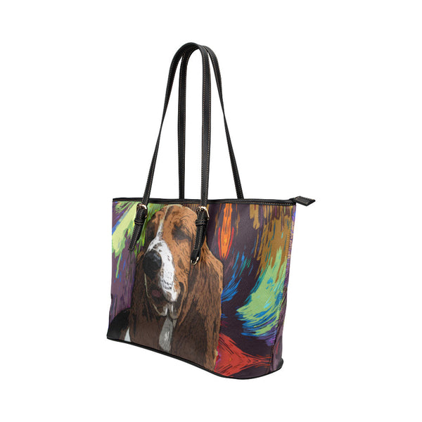 Basset Hound Leather Tote Bags - Basset Hound Bags - TeeAmazing - 2