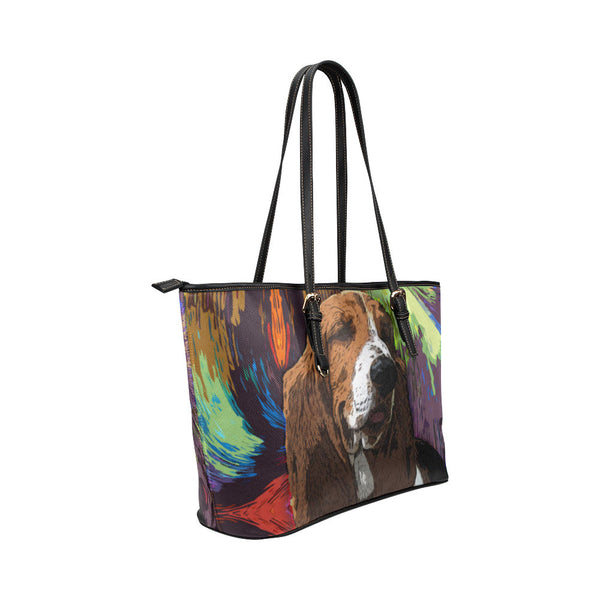 Basset Hound Leather Tote Bags - Basset Hound Bags - TeeAmazing - 4
