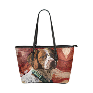Brittany Spaniel Leather Tote Bags - Brittany Spaniel Bags - TeeAmazing