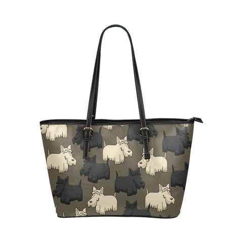 Scottish Terrier Leather Tote Bags - Scottish Terrier Bags - TeeAmazing