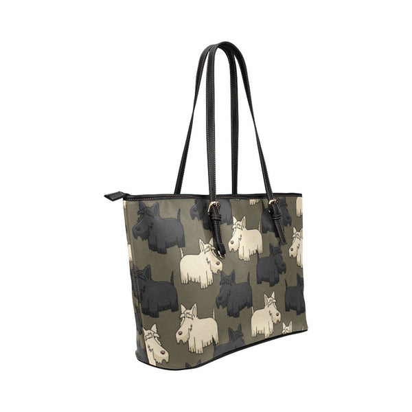 Scottish Terrier Leather Tote Bags - Scottish Terrier Bags - TeeAmazing - 4
