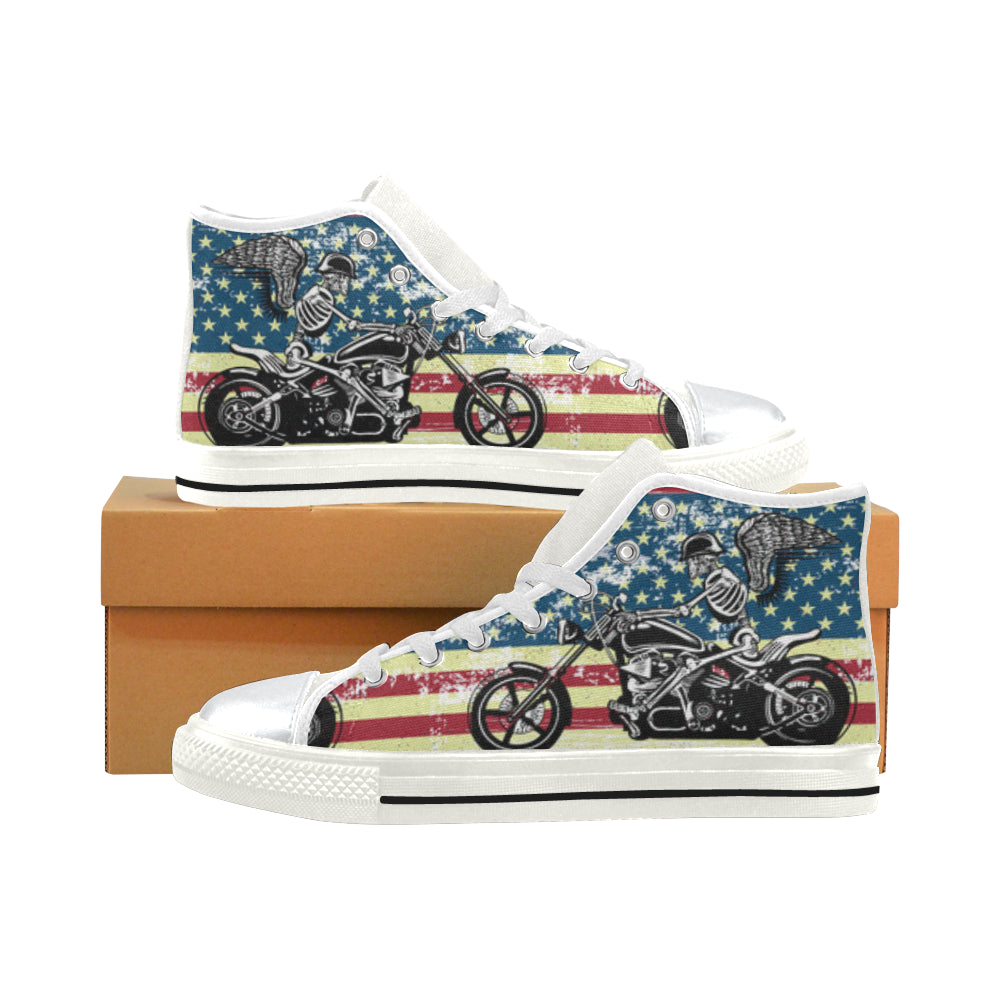 Skeleton Biker White High Top Canvas Shoes for Kid - TeeAmazing