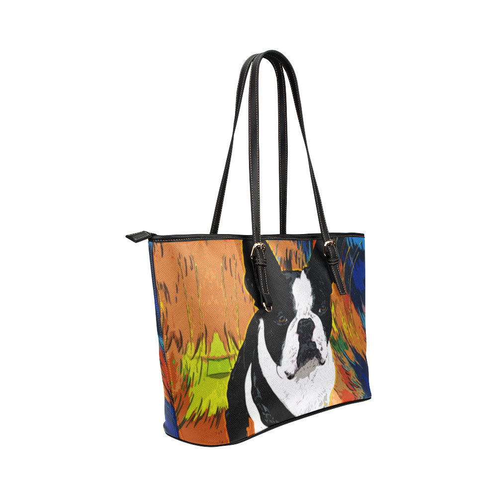 Boston Terrier Leather Tote Bags - Boston Terrier Bags - TeeAmazing