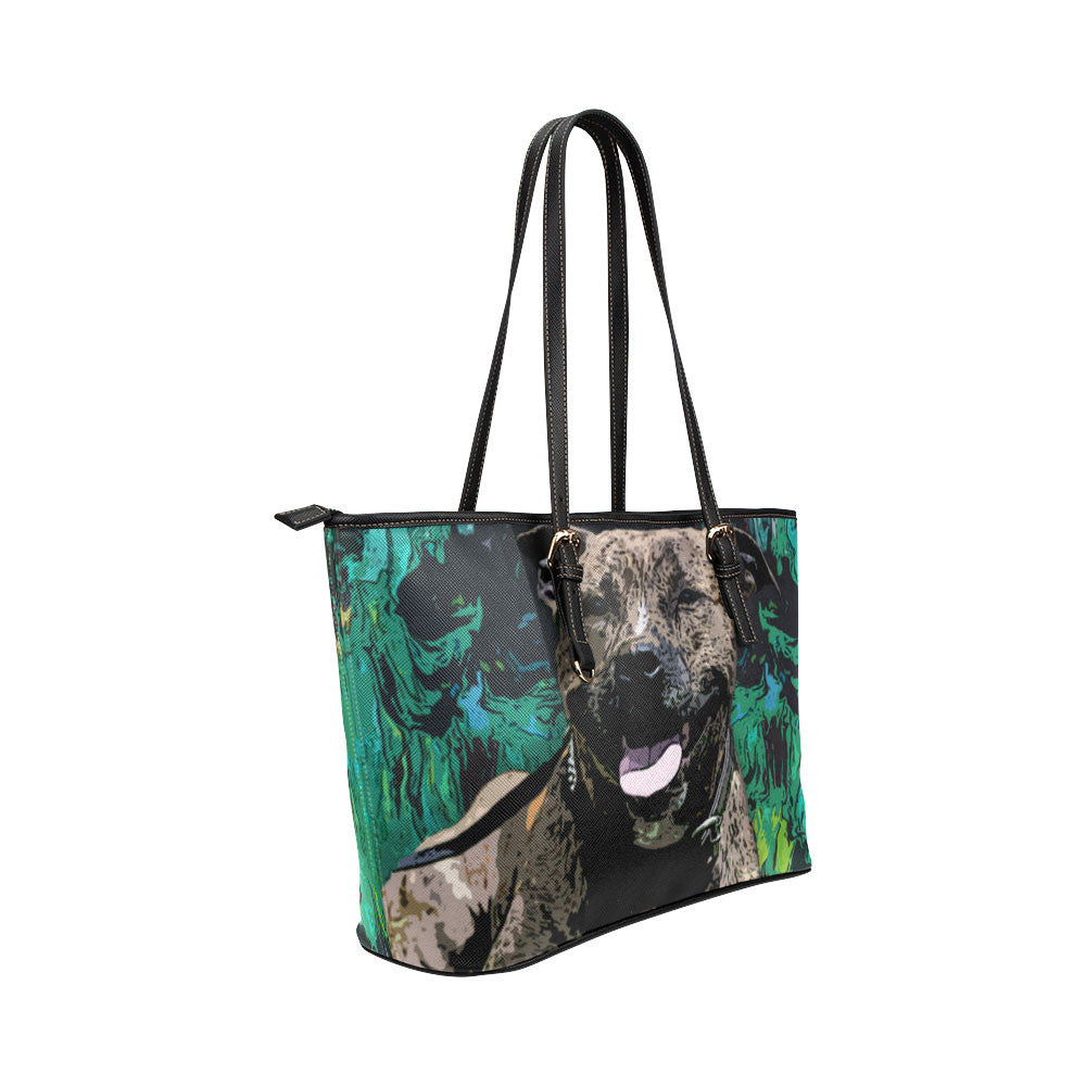 Staffordshire Bull Terrier Leather Tote Bags - Staffordshire Bull Terrier Bags - TeeAmazing