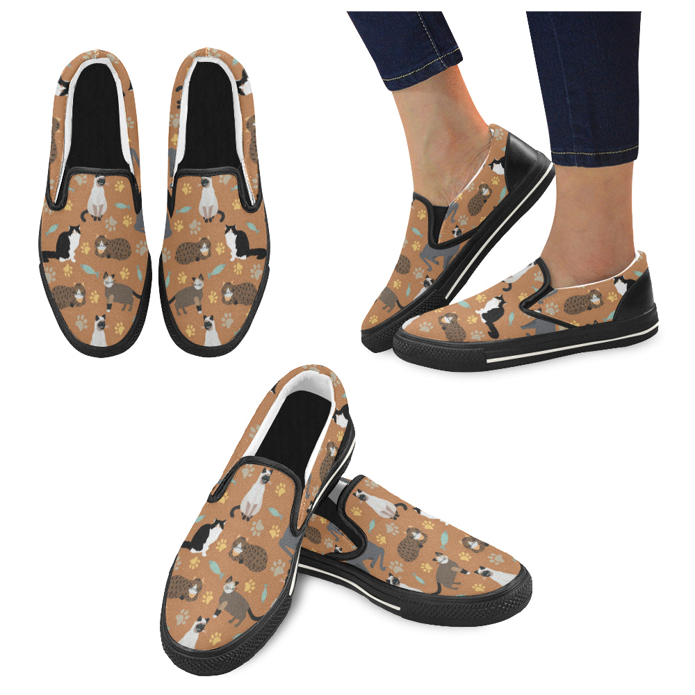 Cat Pattern Black Women's Slip-on Canvas Shoes/Large Size (Model 019) - TeeAmazing