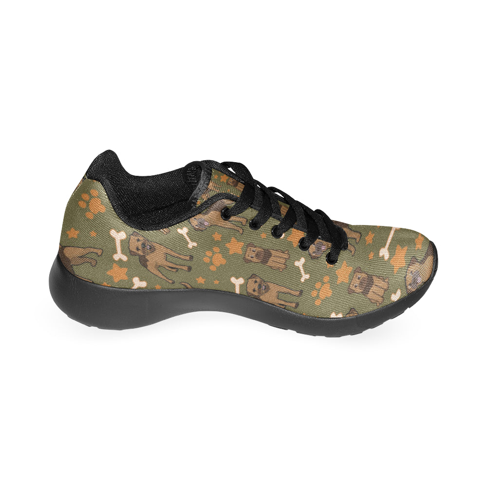 Border Terrier Pattern Black Sneakers for Men - TeeAmazing