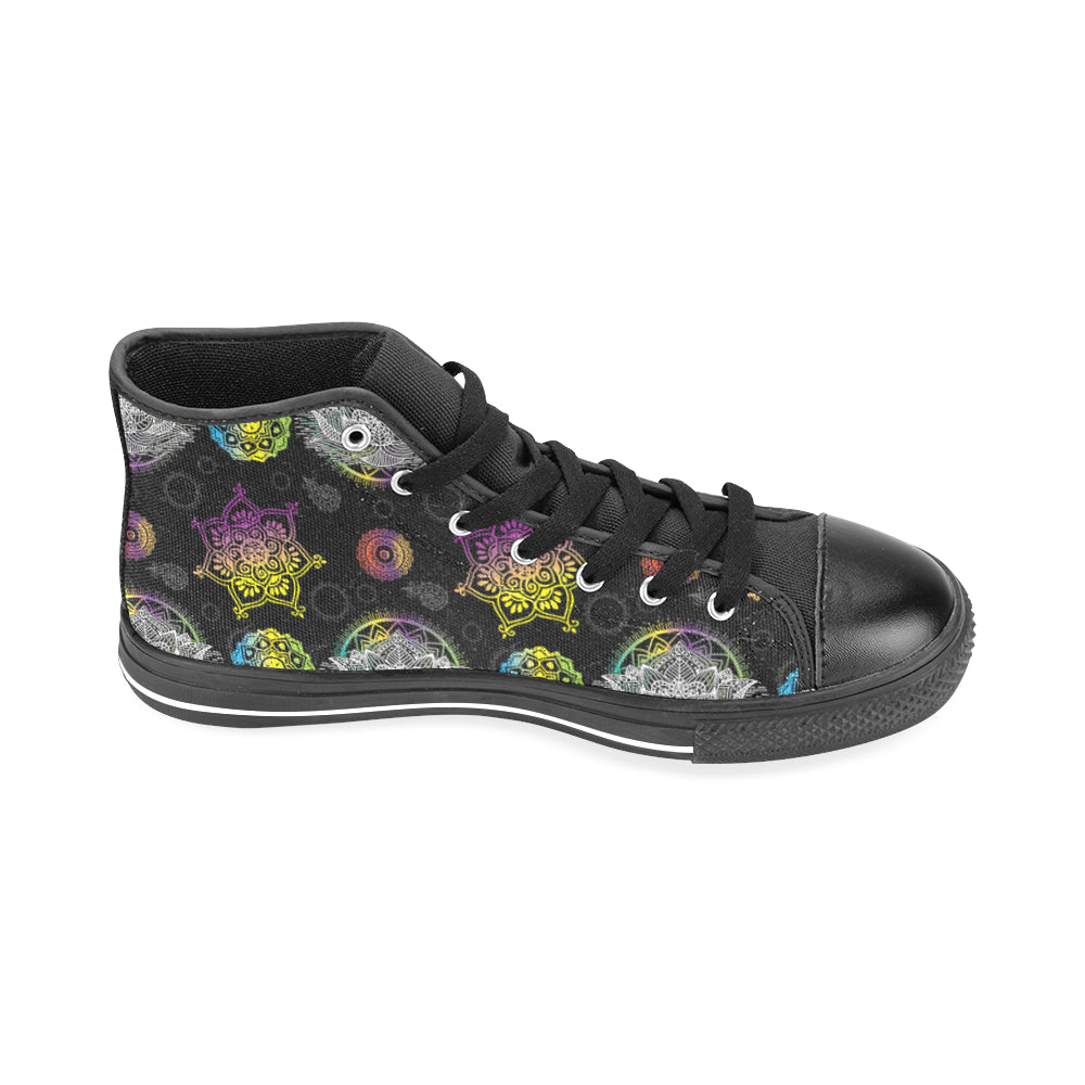 Lotus and Mandalas Black Men's Classic High Top Canvas Shoes /Large Size - TeeAmazing