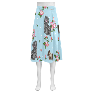 Skye Terrier Flower Mnemosyne Women's Crepe Skirt (Model D16) - TeeAmazing