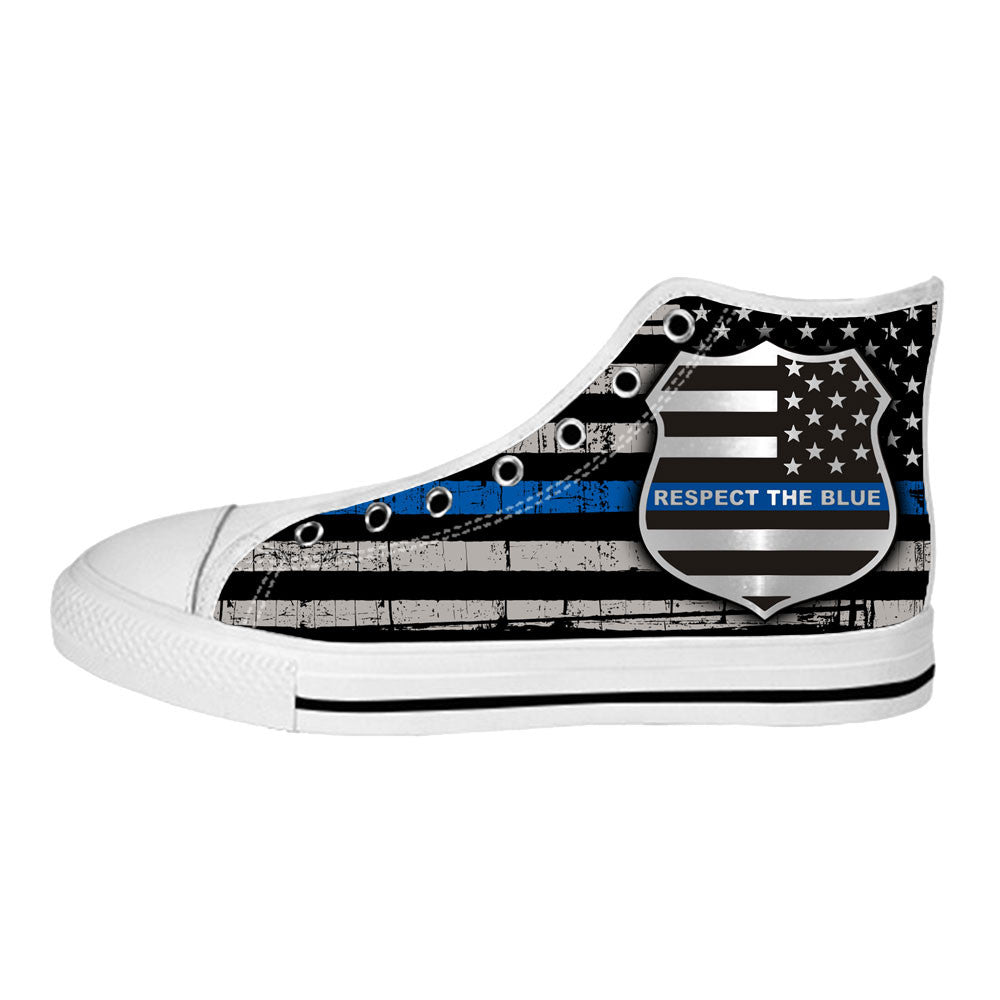 Thin Blue Line Flag Shoes & Sneakers Custom Police Canvas Shoes