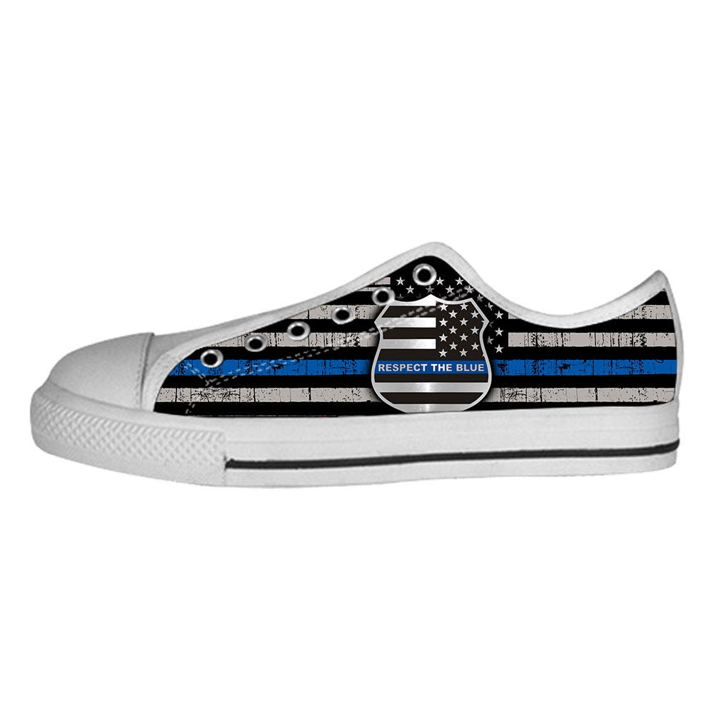 Thin Blue Line Flag Shoes & Sneakers - Custom Police Canvas Shoes - TeeAmazing
