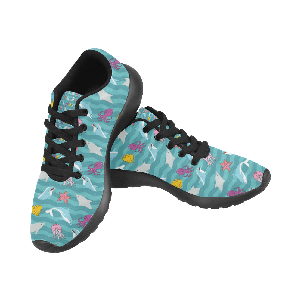 Dolphin Black Sneakers for Men - TeeAmazing