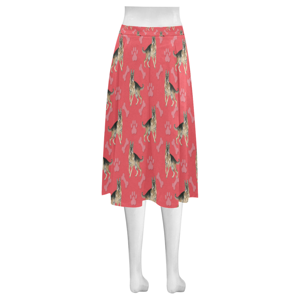 German Shepherd Water Colour Pattern No.1 Mnemosyne Women's Crepe Skirt (Model D16) - TeeAmazing