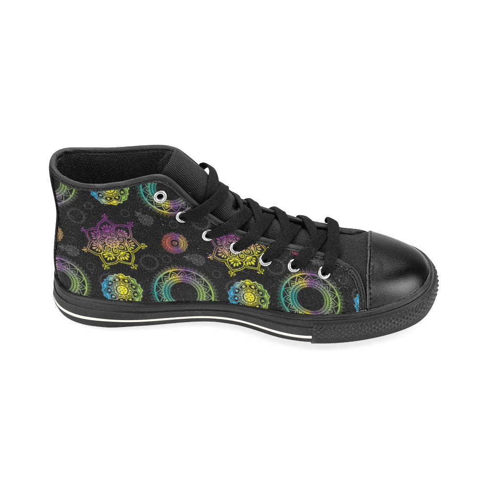 Chakra Black High Top Canvas Shoes for Kid - TeeAmazing