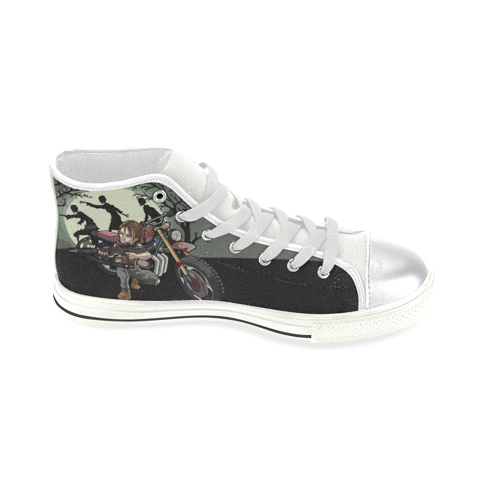 Daryl Dixon White Women's Classic High Top Canvas Shoes - TeeAmazing