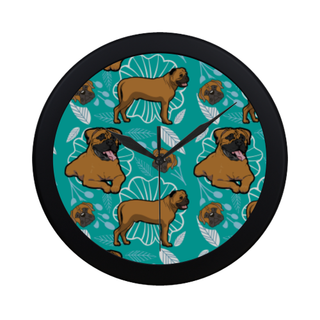 Bullmastiff Flower Black Circular Plastic Wall clock - TeeAmazing