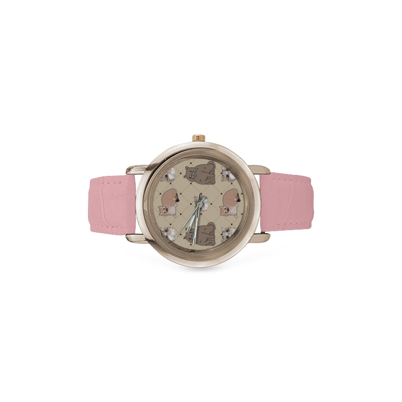 Exotic Shorthair Women's Rose Gold Leather Strap Watch(Model 201) - TeeAmazing
