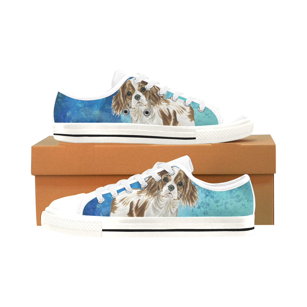 Cavalier King Charles Spaniel Water Colour No.1 White Men's Classic Canvas Shoes/Large Size - TeeAmazing