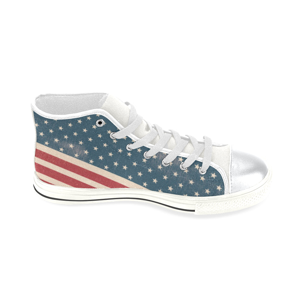 4th July V2 White High Top Canvas Women's Shoes/Large Size - TeeAmazing