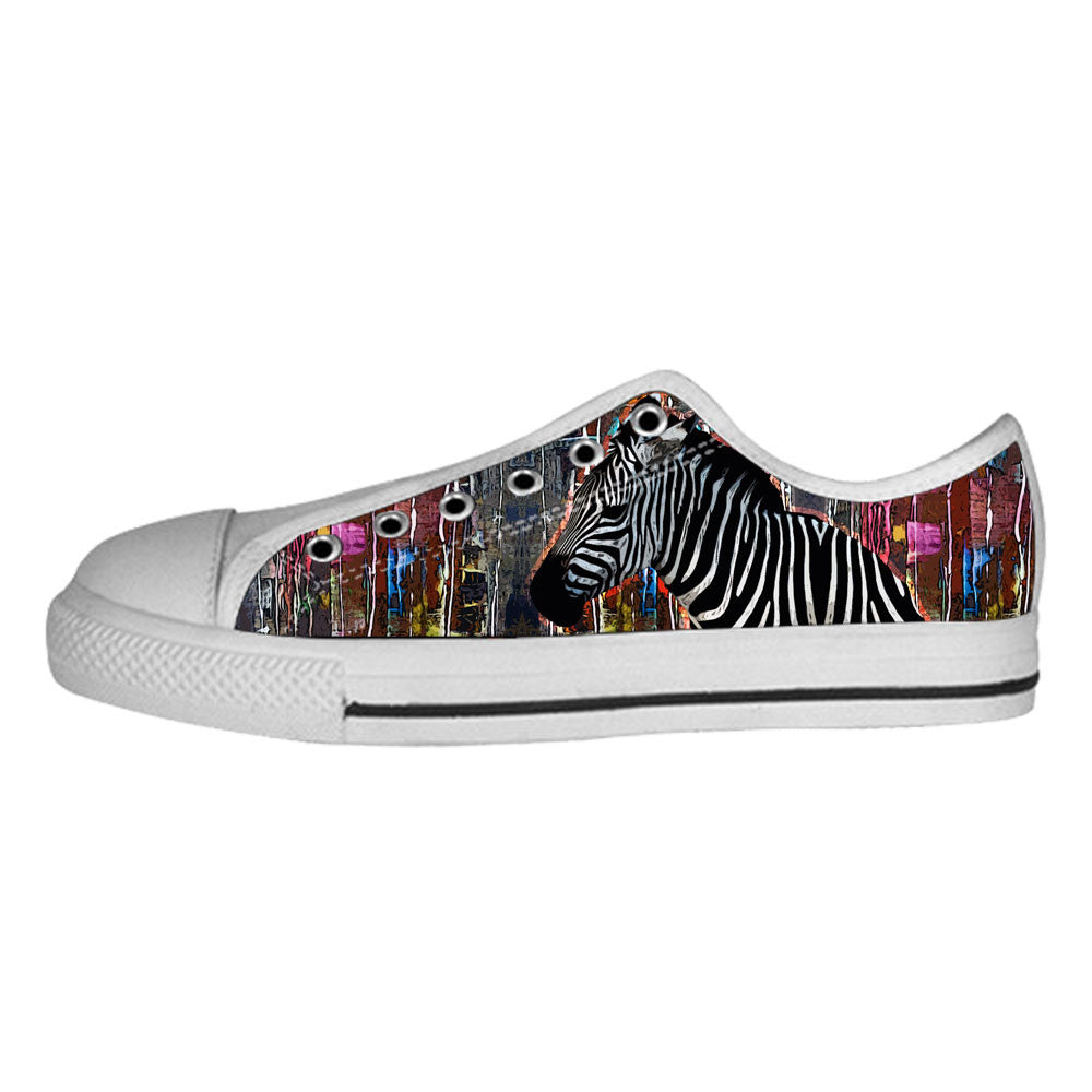 Zebra Shoes & Sneakers - Custom Zebra Canvas Shoes - TeeAmazing - 4