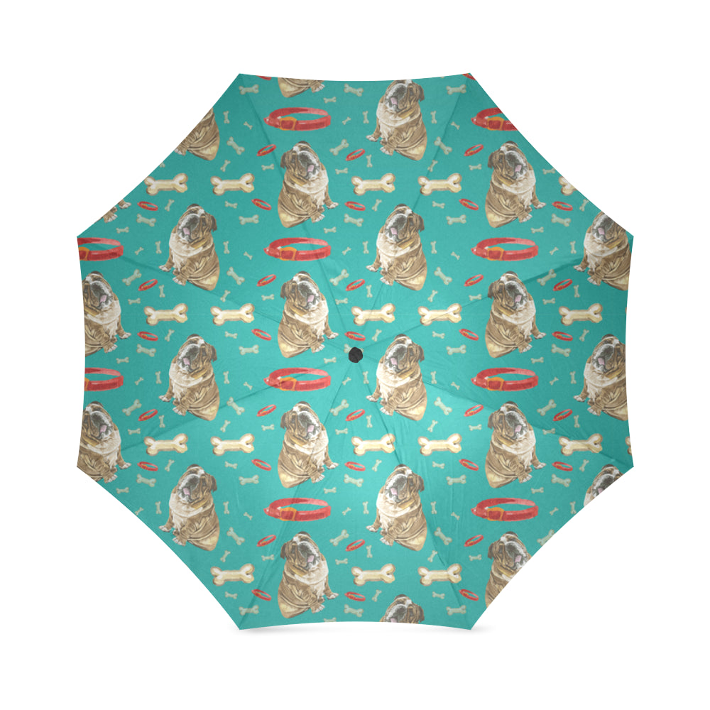 English Bulldog Water Colour Pattern No.1 Foldable Umbrella - TeeAmazing