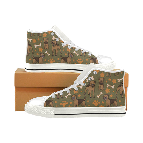 Border Collie Pattern White Men's Classic High Top Canvas Shoes - TeeAmazing