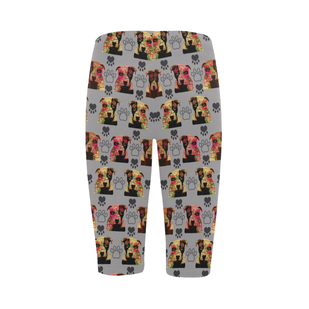 Pit Bull Pop Art Pattern No.1 Hestia Cropped Leggings - TeeAmazing