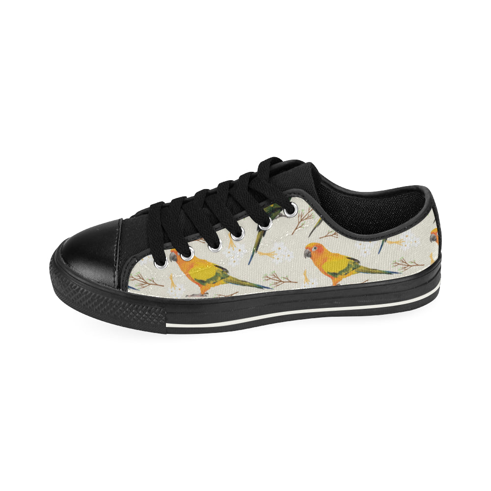 Conures Black Low Top Canvas Shoes for Kid - TeeAmazing
