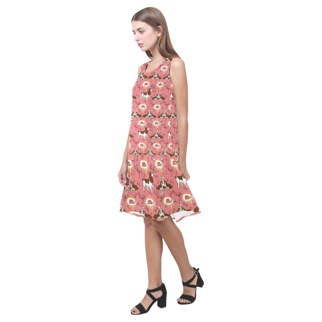 English Cocker Spaniel Pattern Sleeveless Splicing Shift Dress - TeeAmazing