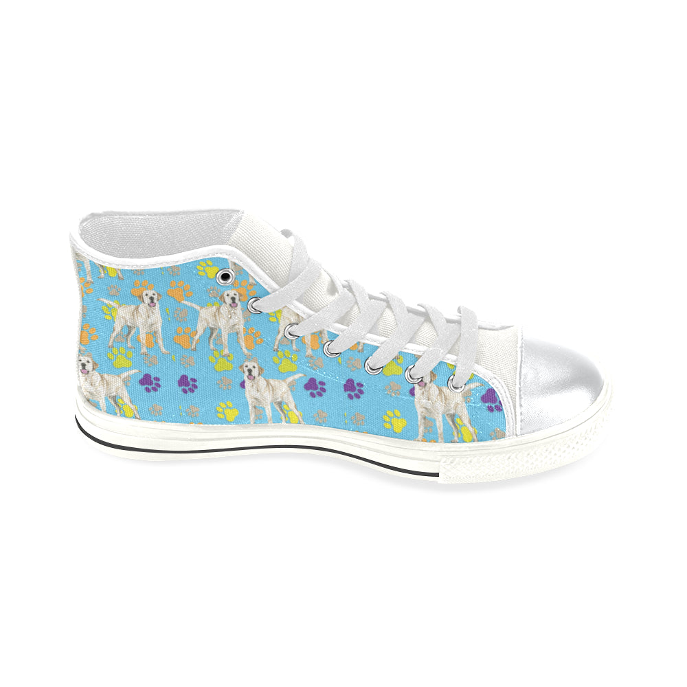 Labrador Retriever Water Colour Pattern No.1 White High Top Canvas Women's Shoes/Large Size - TeeAmazing