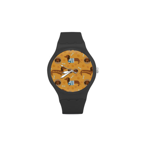 Dachshund Pattern Black Unisex Round Rubber Sport Watch - TeeAmazing