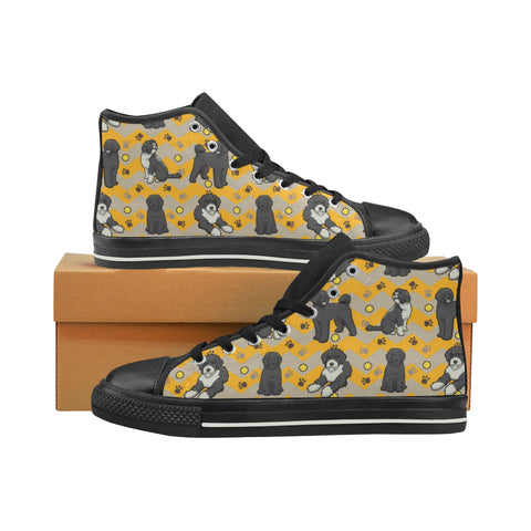 Portuguese water dog Black High Top Canvas Shoes for Kid (Model 017) - TeeAmazing