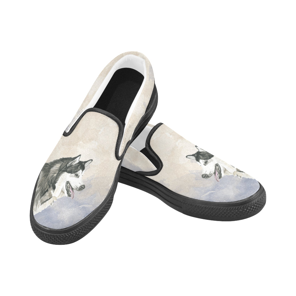Alaskan Malamute Water Colour Black Women's Slip-on Canvas Shoes - TeeAmazing