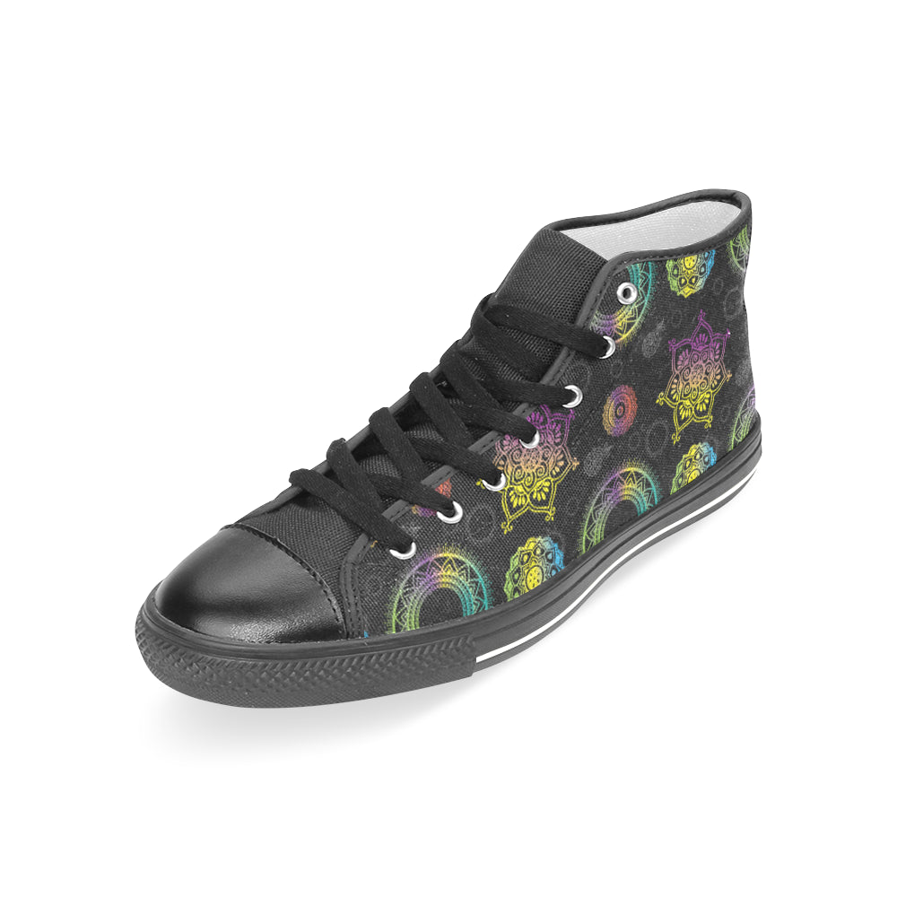 Chakra Black Women's Classic High Top Canvas Shoes - TeeAmazing