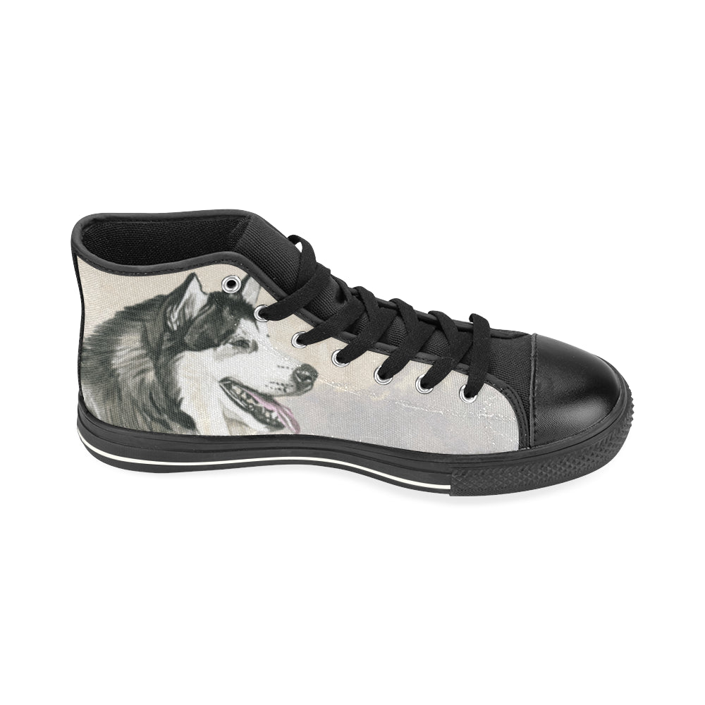 Alaskan Malamute Water Colour Black High Top Canvas Women's Shoes/Large Size (Model 017) - TeeAmazing