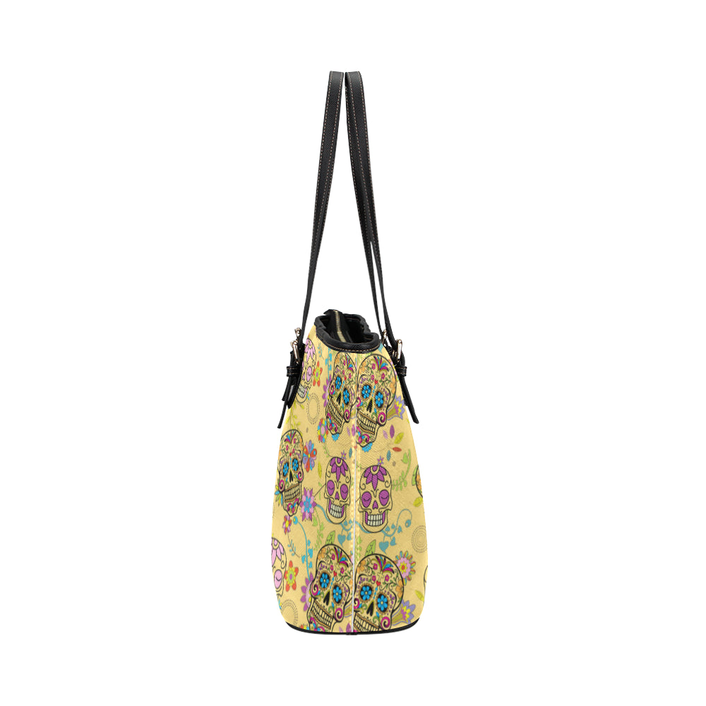 Sugar Skull Leather Tote Bag/Small - TeeAmazing