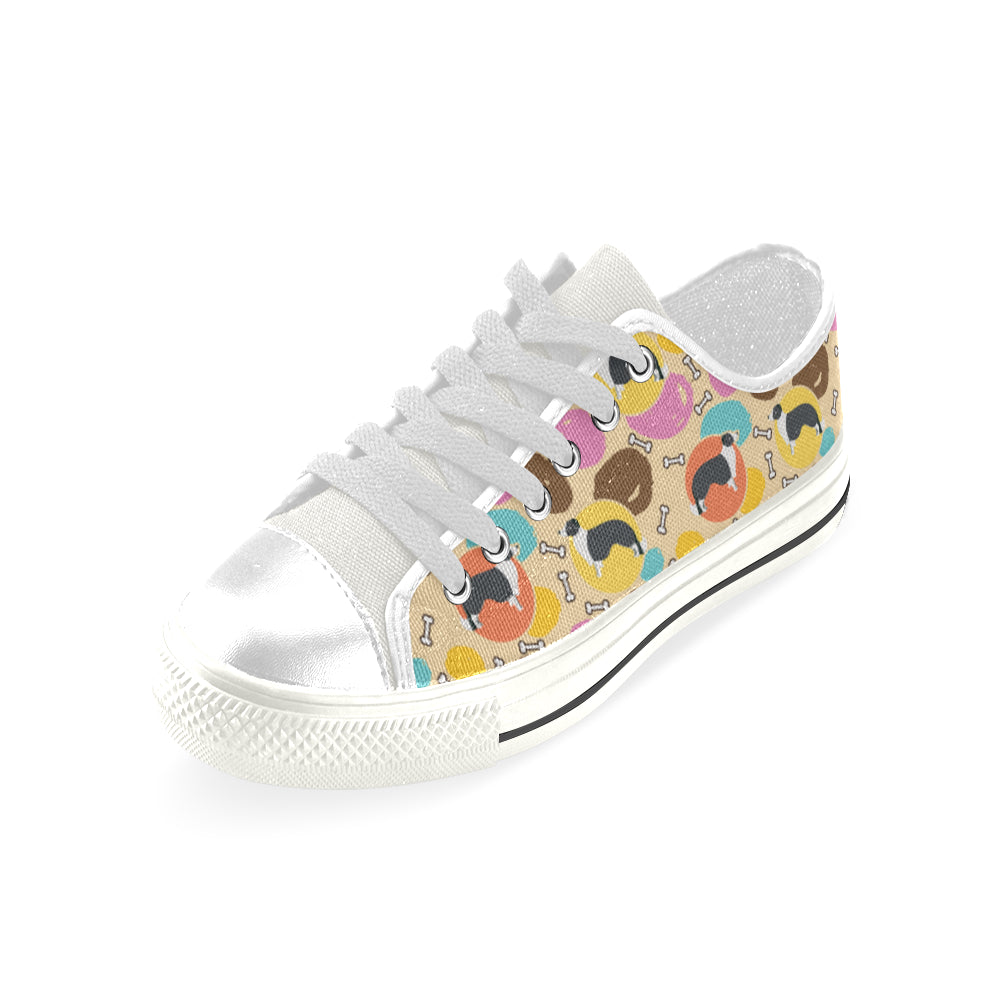 Border Collie Pattern White Low Top Canvas Shoes for Kid - TeeAmazing