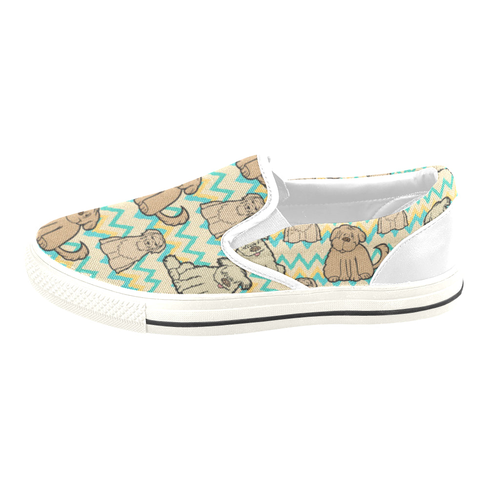 Briard White Women's Slip-on Canvas Shoes/Large Size (Model 019) - TeeAmazing