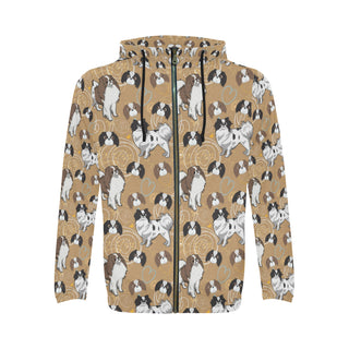 Japanese Chin All Over Print Full Zip Hoodie for Men - TeeAmazing