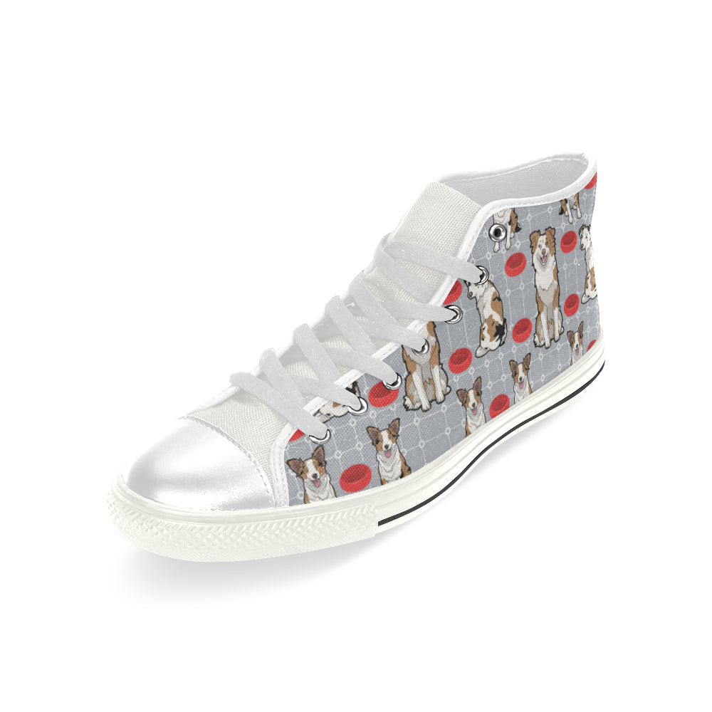 Australian shepherd Pattern White Men's Classic High Top Canvas Shoes - TeeAmazing