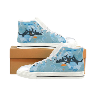 Sky Diving White High Top Canvas Shoes for Kid - TeeAmazing