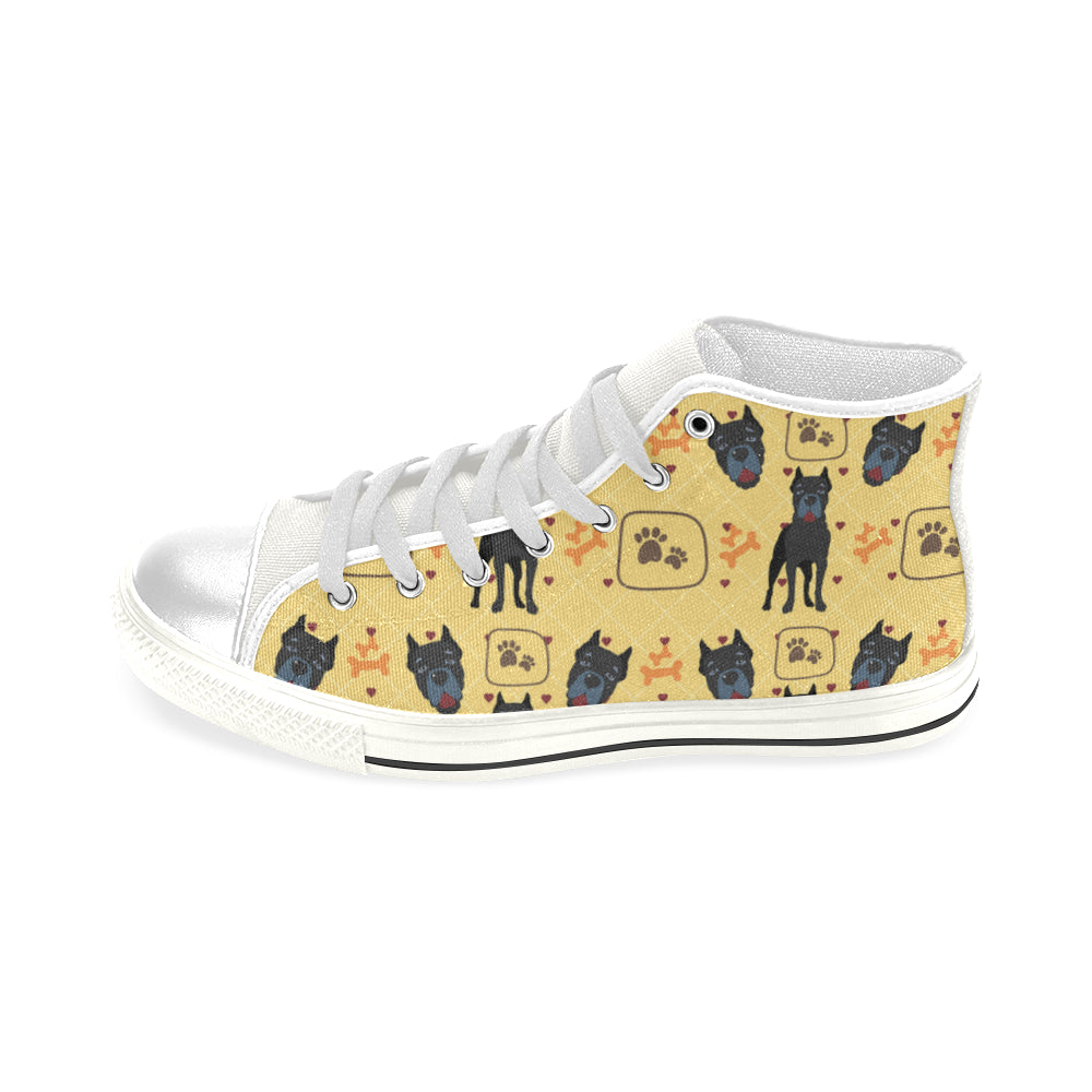 Cane Corso Pattern White Men's Classic High Top Canvas Shoes - TeeAmazing