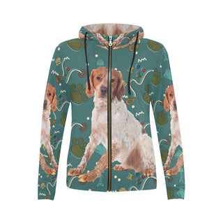 Brittany Spaniel Dog All Over Print Full Zip Hoodie for Women (Model H14) - TeeAmazing