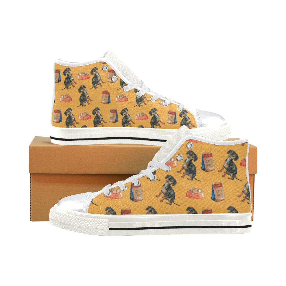 Dachshund Water Colour Pattern No.1 White High Top Canvas Women's Shoes/Large Size - TeeAmazing