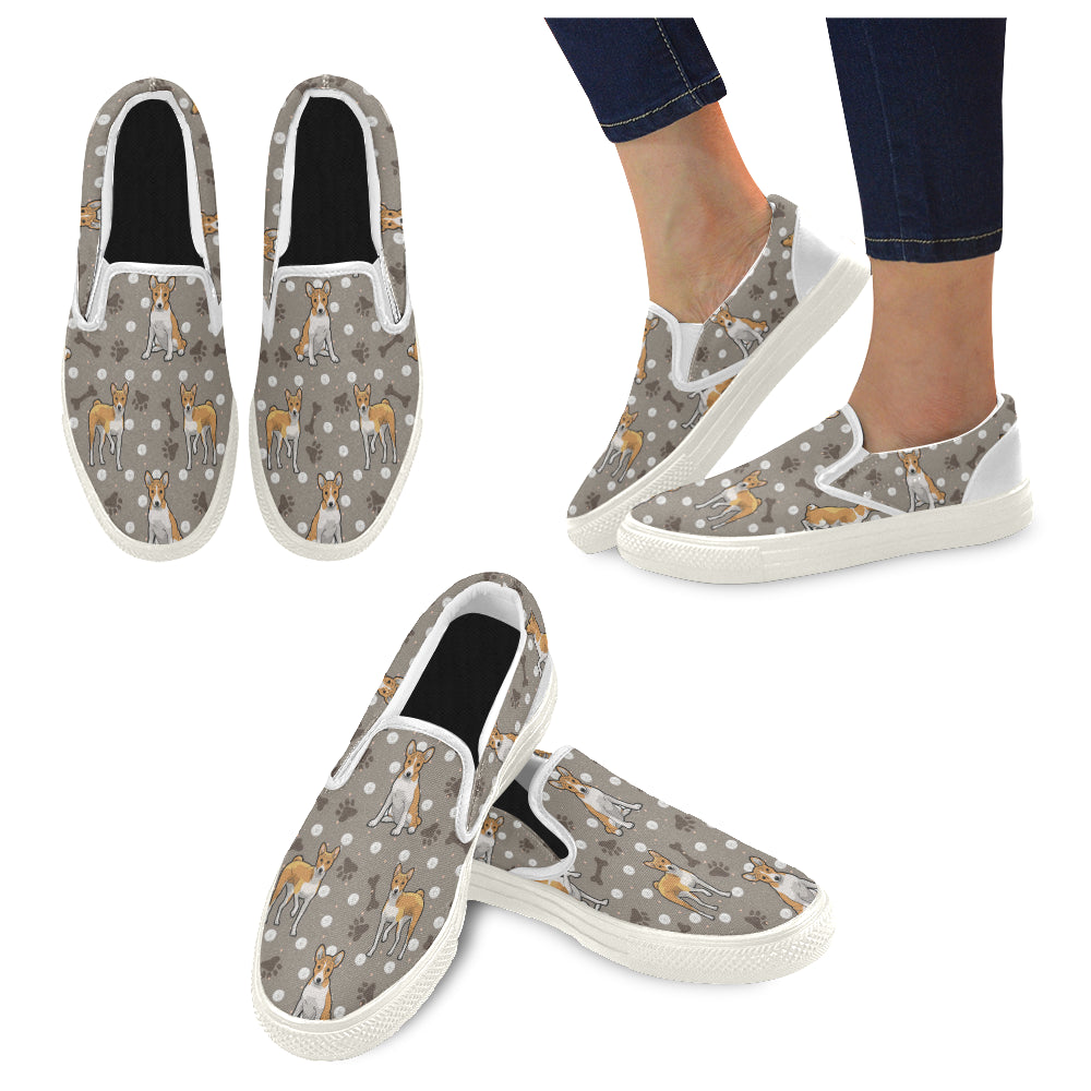 Basenji White Women's Slip-on Canvas Shoes - TeeAmazing